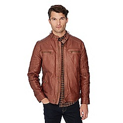 Red Herring - Brown washed biker jacket