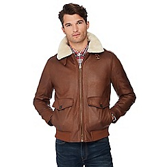 Red Herring - Tan shearling collar flight jacket
