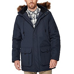 Red Herring - Navy faux fur hood parka