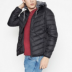 Red Herring - Big and Tall Black Padded Jersey Hood Coat