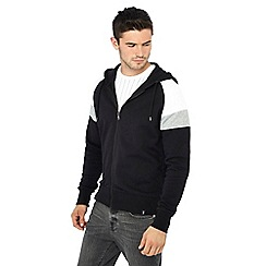 Red Herring - Black retro zip through hoodie