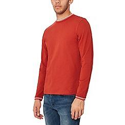 Red Herring - Big and tall dark orange tipped long sleeves slim fit t-shirt