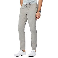 Red Herring - Big and tall light grey drawstring chino jogging bottoms