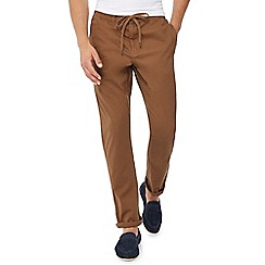 Red Herring - Big and tall dark tan drawstring chino jogging bottoms