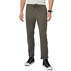 Red Herring - Khaki drawstring chino jogging bottoms