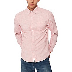 Red Herring - Red basket weave long sleeves slim fit shirt