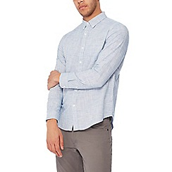 Red Herring - Blue basket weave long sleeves slim fit shirt
