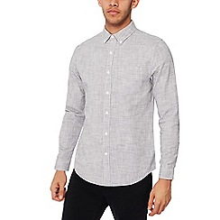 Red Herring - Grey basket weave long sleeves slim fit shirt