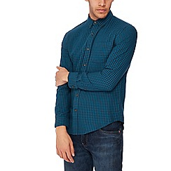 Red Herring - Bright turquoise gingham long sleeves slim fit shirt