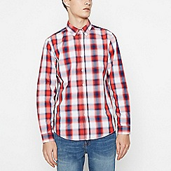 Red Herring - Red Cotton Tartan Long Sleeve Slim Fit Shirt