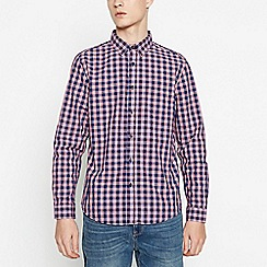 Red Herring - Big and tall blue cotton gingham long sleeve slim fit shirt