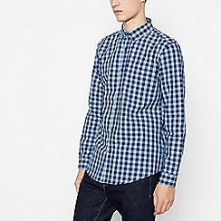 Red Herring - Blue Cotton Gingham Long Sleeve Slim Fit Shirt