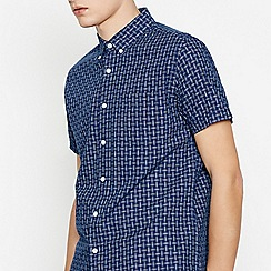 Red Herring - Navy Cotton Crossover Short Sleeve Slim Fit Shirt