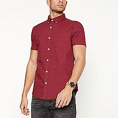 Red Herring - Big and tall red textured short sleeve slim fit shirt