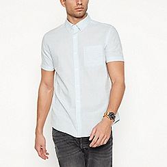Red Herring - Blue textured short sleeve slim fit shirt