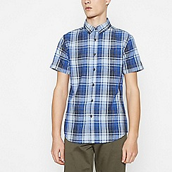 Red Herring - Blue Cotton Check Short Sleeve Slim Fit Shirt