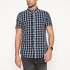 Red Herring - Navy checked short sleeve slim fit shirt