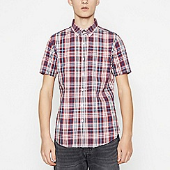 Red Herring - Red Cotton Tartan Short Sleeve Slim Fit Shirt