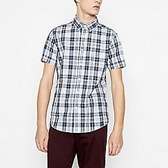 Red Herring - Grey Cotton Tartan Short Sleeve Slim Fit Shirt