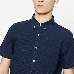Red Herring - Navy Cotton Spotted Short Sleeve Slim Fit Shirt