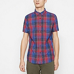 Red Herring - Big and tall red cotton check short sleeve slim fit shirt