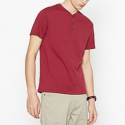 Red Herring - Big and tall red grandad collar cotton t-shirt