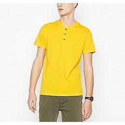 Red Herring - Big and tall bright yellow grandad collar cotton t-shirt
