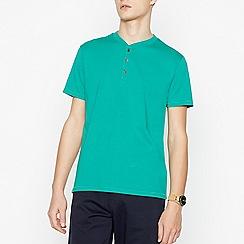 Red Herring - Big and tall bright green grandad collar cotton t-shirt