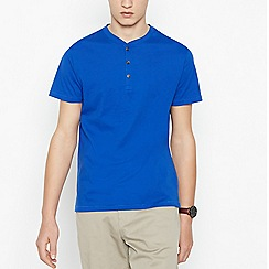 Red Herring - Bright Blue Grandad Collar Cotton T-Shirt