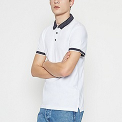 Red Herring - Big and Tall White Contrast Collar Cotton Polo Shirt