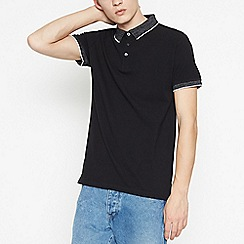 Red Herring - Black Contrast Collar Cotton Polo Shirt