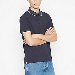 Red Herring - Navy Contrast Collar Cotton Polo Shirt