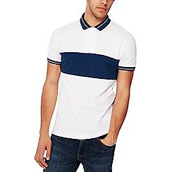 Red Herring - White chest stripe zip neck cotton polo shirt