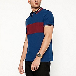 Red Herring - Navy chest stripe zip neck cotton polo shirt