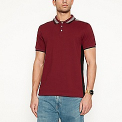 Red Herring - Big and tall dark red shoulder panel polo shirt