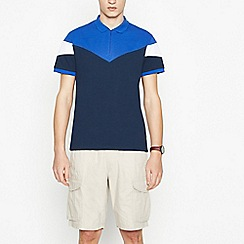 Red Herring - Big and tall navy chevron panel zip neck cotton polo shirt