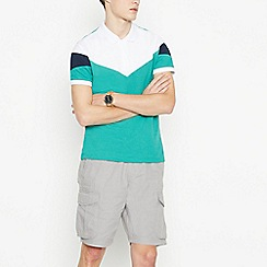 Red Herring - Bright Green Chevron Panel Zip Neck Cotton Polo Shirt