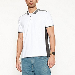 Red Herring - Big and tall white shoulder panel polo shirt