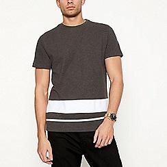 Red Herring - Big and tall grey striped hem t-shirt