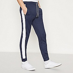 Red Herring - Big and Tall Navy Side Stripe Jogging Bottoms