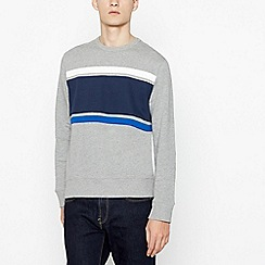 Red Herring - Big and tall grey chest stripe sweatshirt