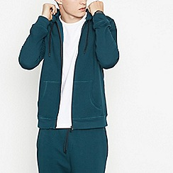 Red Herring - Big and tall dark green zip through hoodie