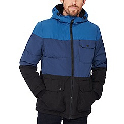 Red Herring - Big and tall blue colour block padded coat