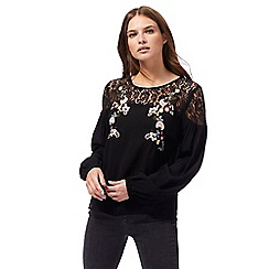 Red Herring - Black floral embroidered lace yoke top