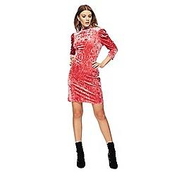 Red Herring - Pink velvet high neck mini dress