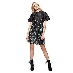 Red Herring - Black floral print high neck mini skater dress