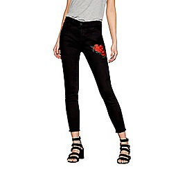 Noisy may - Black 'Lucy' rose embroidered jeans