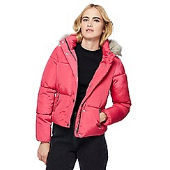 Red Herring - Pink hooded short padded coat