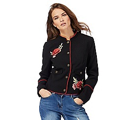 Red Herring - Black floral embroidered badge military jacket
