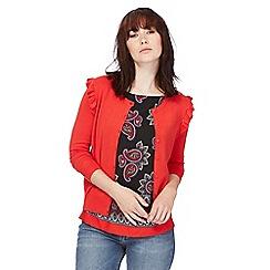 Red Herring - Red ruffled cardigan